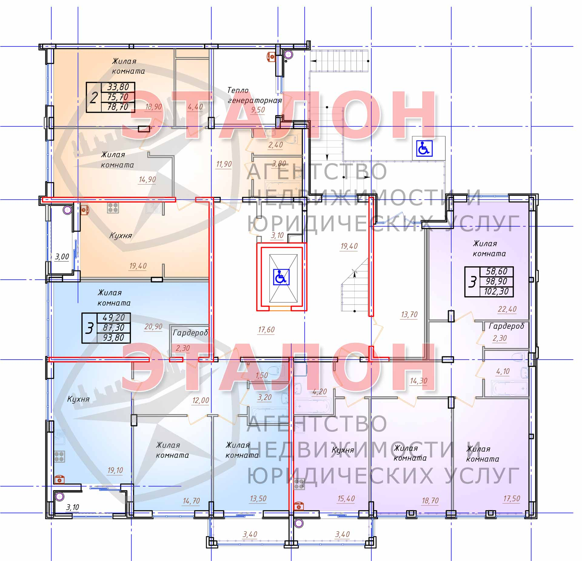 Блок 1. Подъезд 1. План 1-го этажа