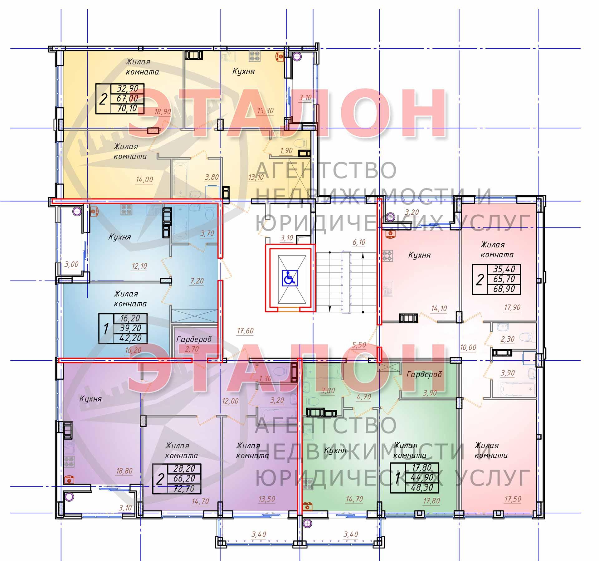 Блок 1. Подъезд 1. План 2-го этажа