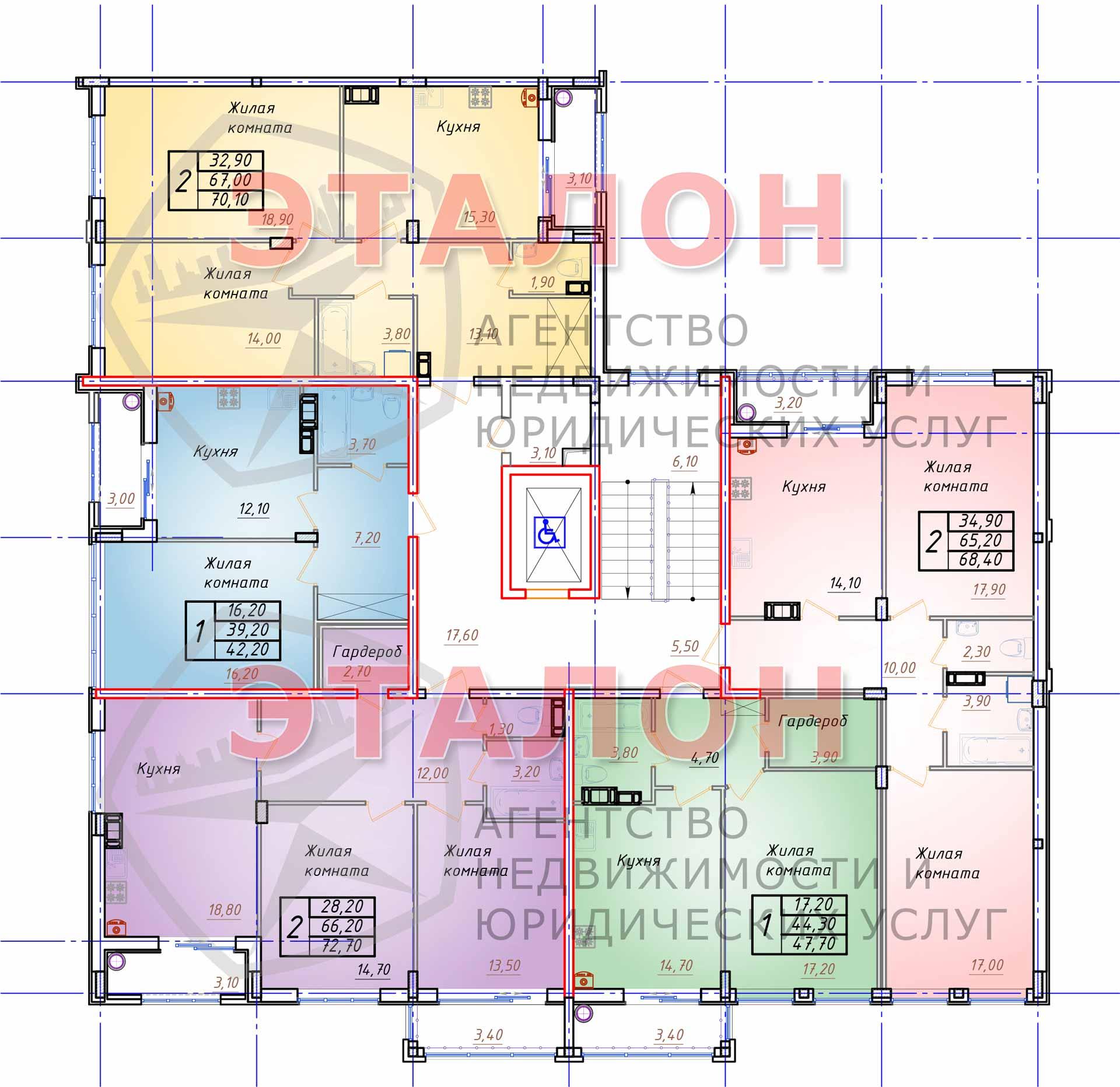 Блок 1. Подъезд 1. План 3-го этажа