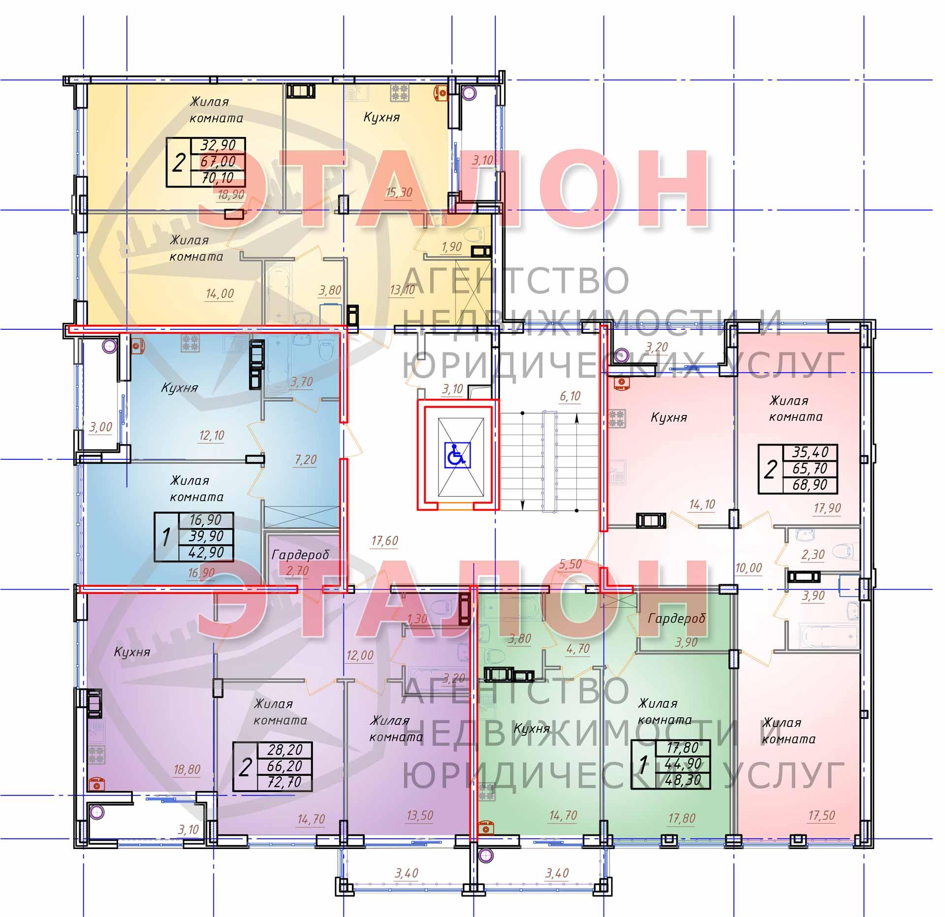 Блок 1. Подъезд 1. План 4-го - 8-го этажа