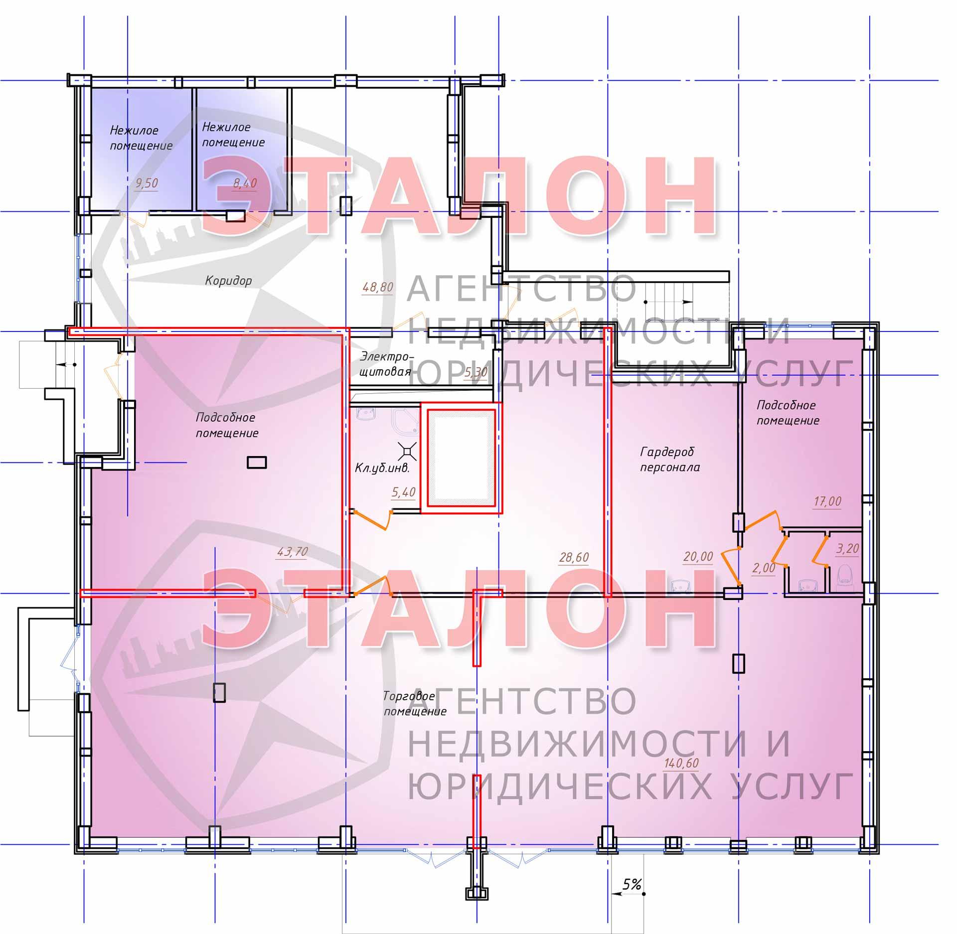 Блок 1. Подъезд 1. План цокольного этажа.