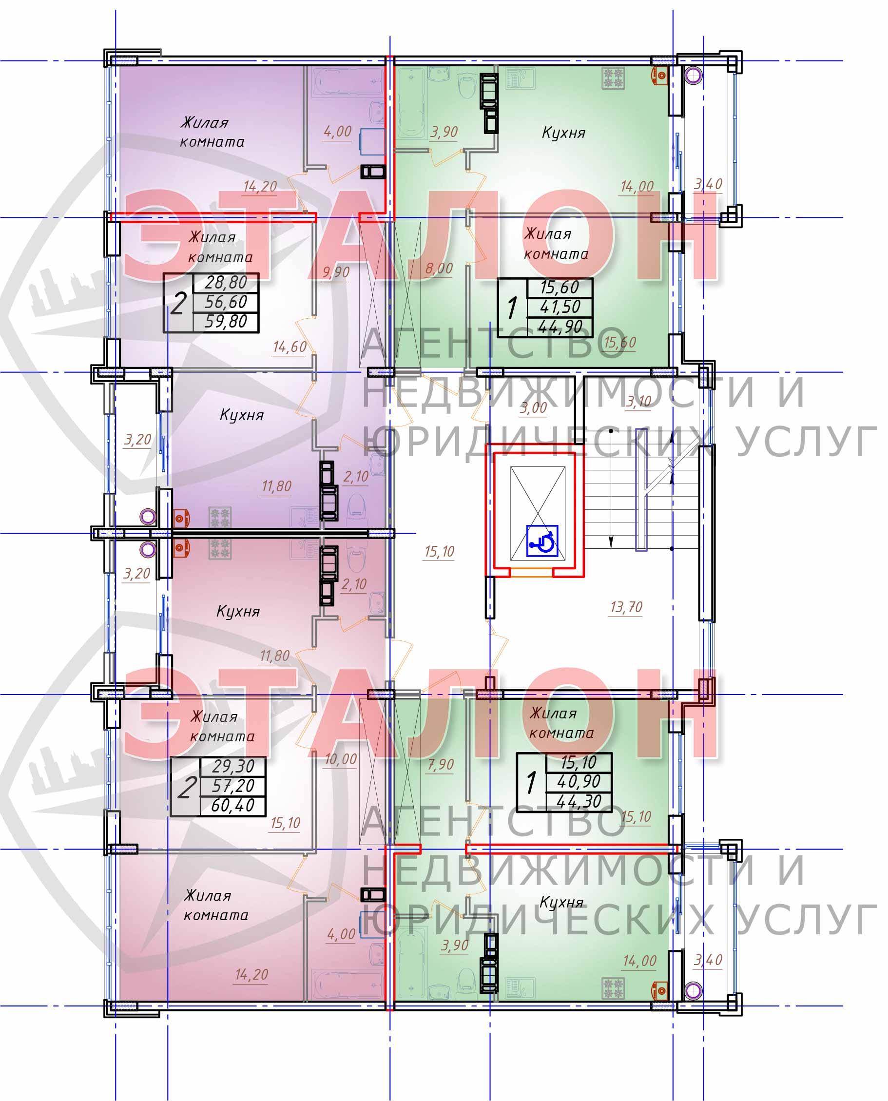 Блок 2. Подъезд 2. План 2-го - 3-го этажа