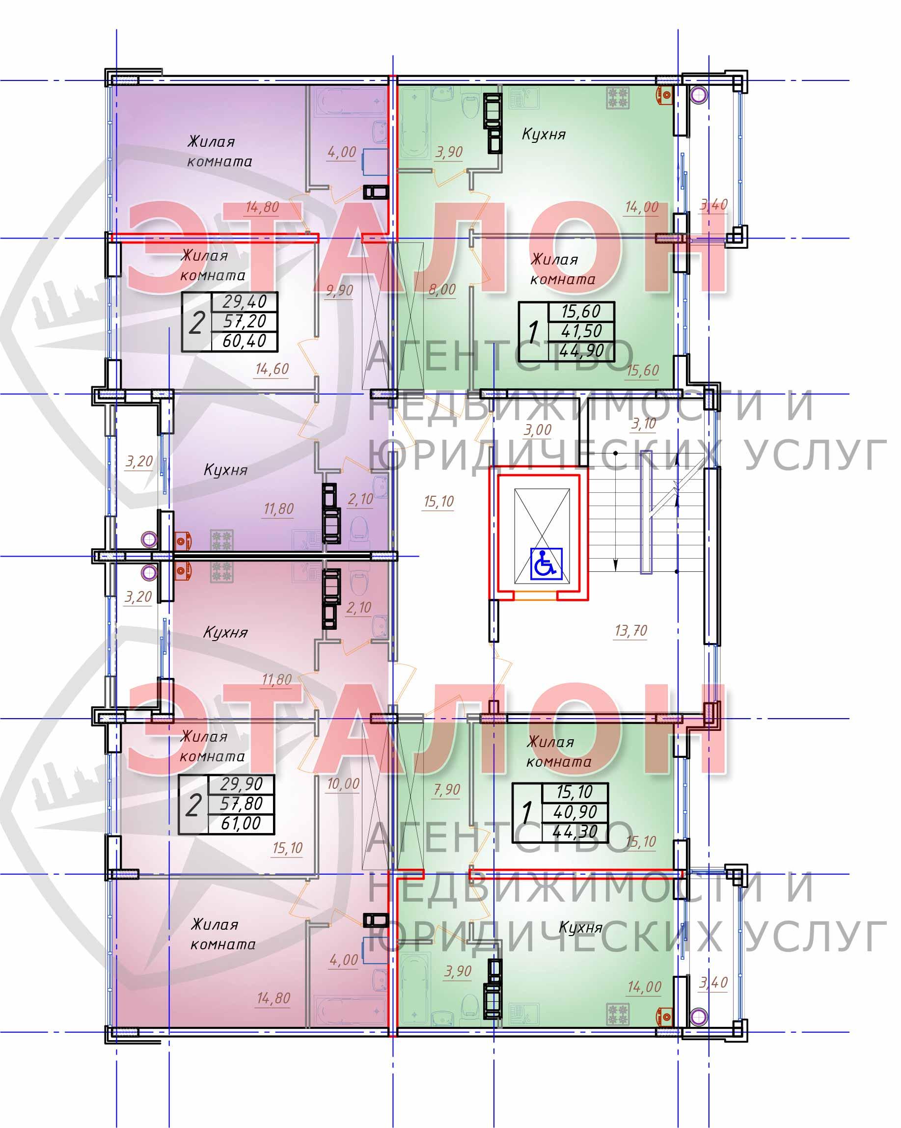 Блок 2. Подъезд 2. План 4-го - 6-го этажа