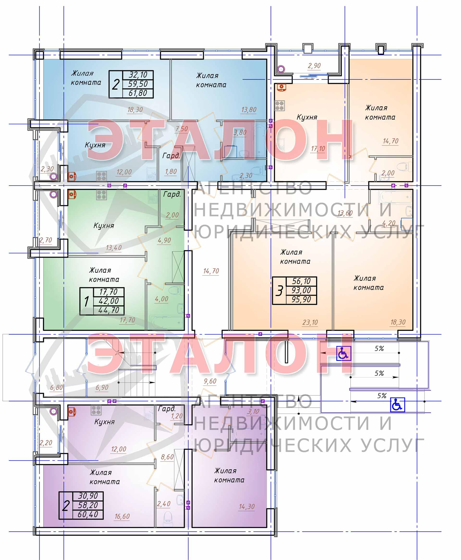 Блок 3. Подъезд 3. План 1-го этажа