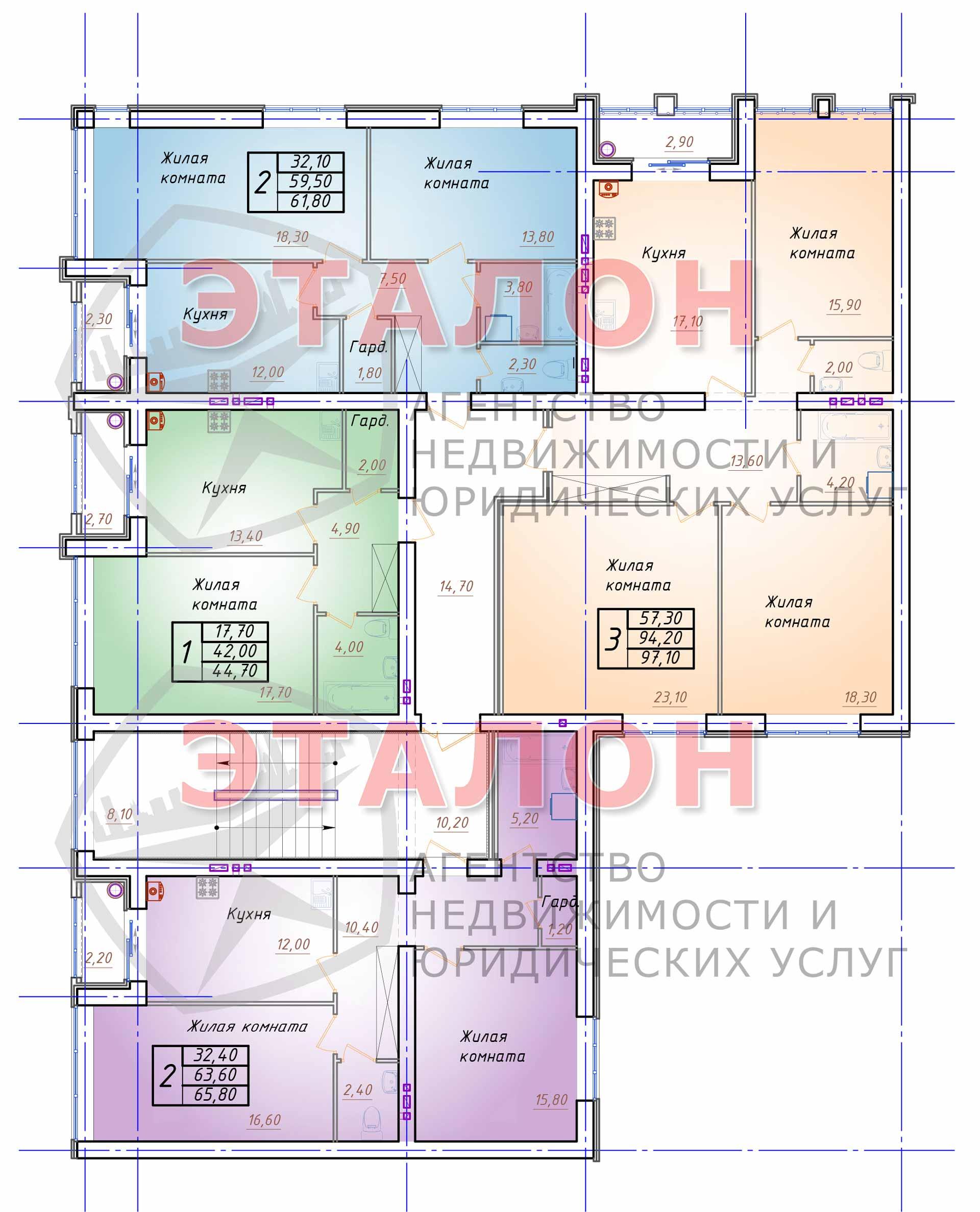 Блок 3. Подъезд 3. План 2-го этажа