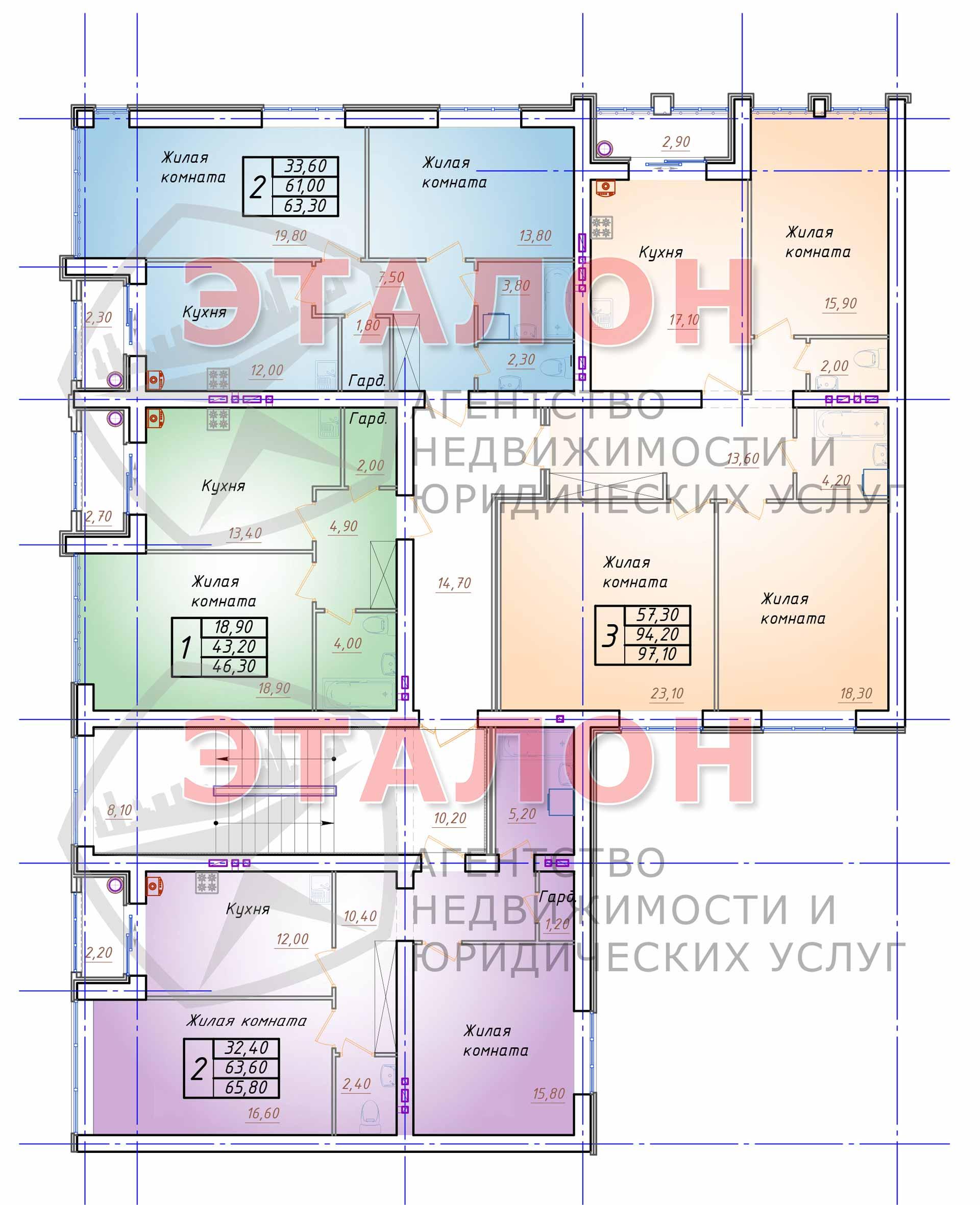 Блок 3. Подъезд 3. План 3-го этажа