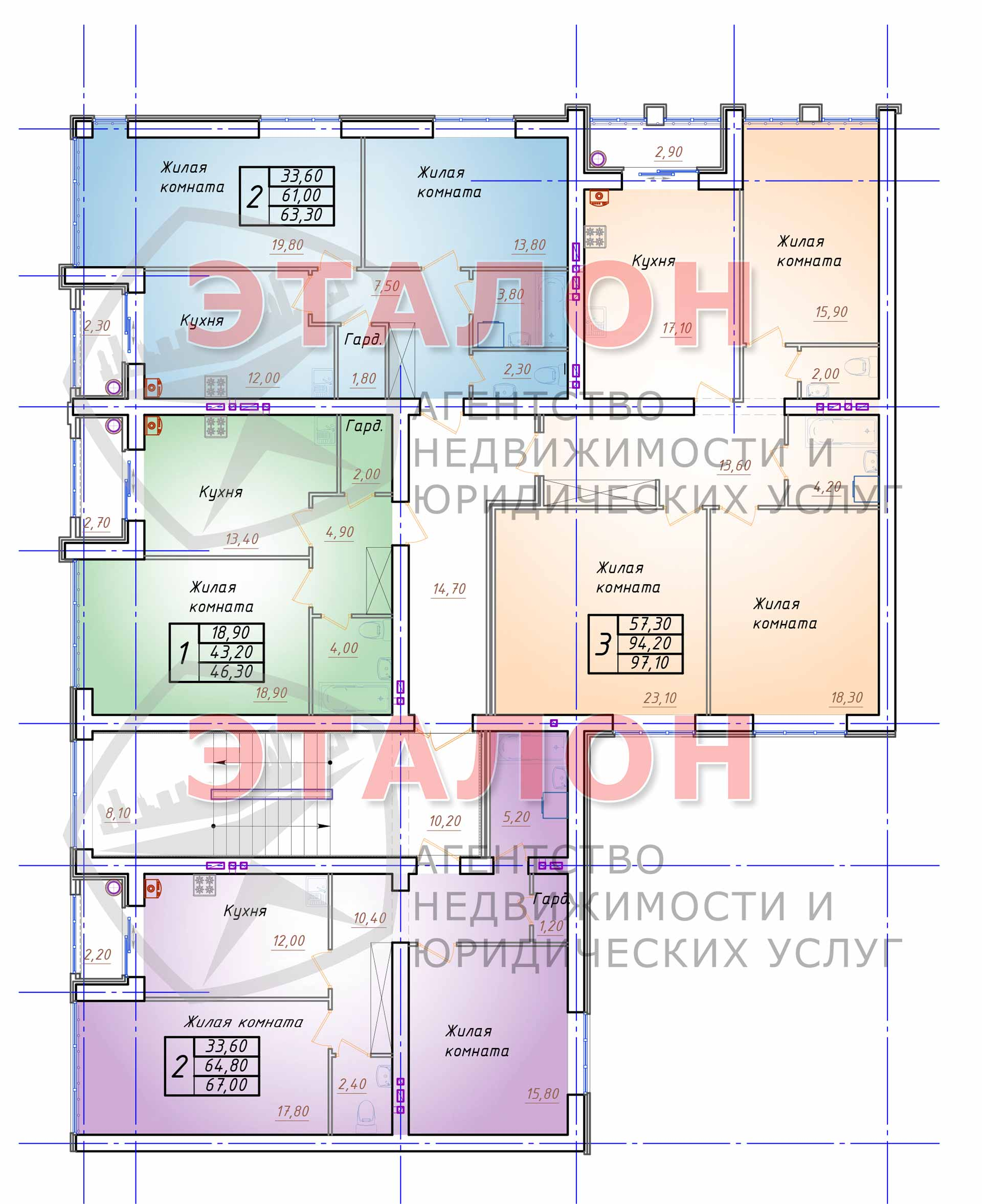 Блок 3. Подъезд 3. План 4-го этажа