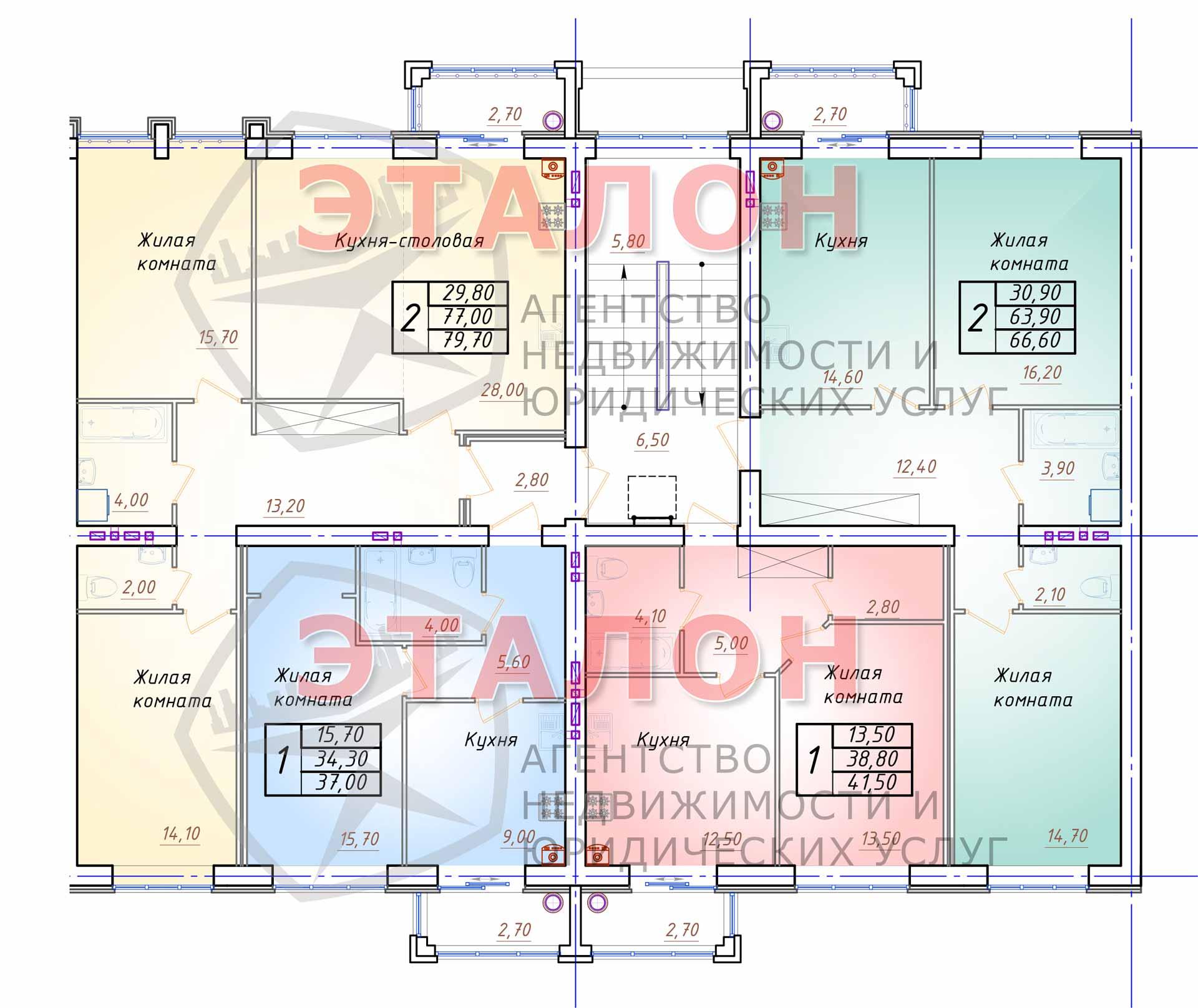 Блок 4. Подъезд 5. План 2-4-го этажа